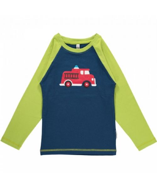 Maxomorra Long Sleeve Top Fire Truck Single Print